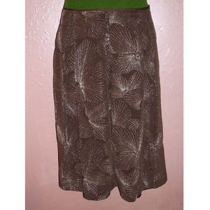 Talbots Pleated Skirt~Mocha Silk~Silver Embroidery